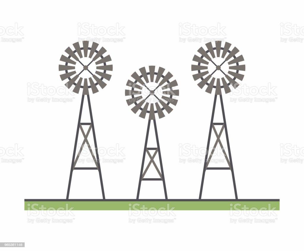 Trois moulin à vent - clipart vectoriel de Agriculture libre de droits