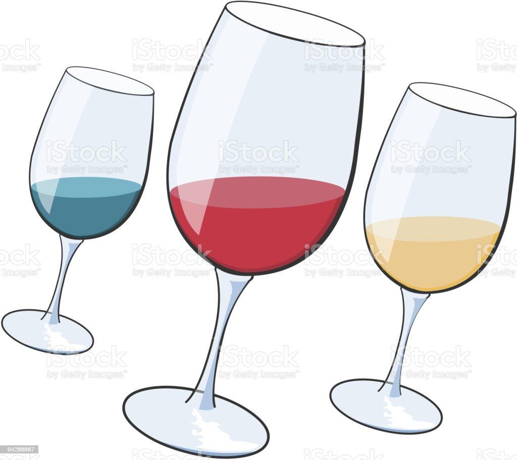 Three wine glasses royalty-free stock vector art