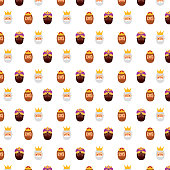three wise king faces decoration seamless pattern image