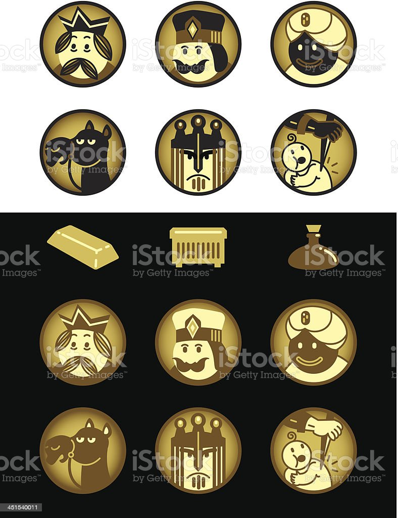 Three Wise Men and Herod / Reyes Magos y Herodes royalty-free stock vector art