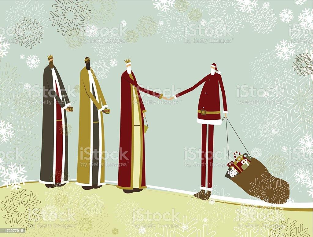 Three wise men and Santa royalty-free stock vector art
