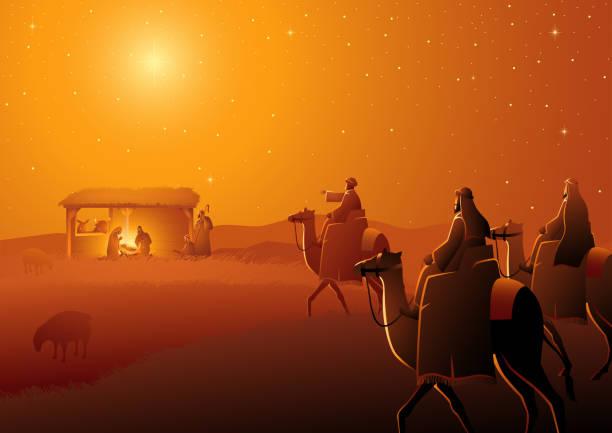 ilustrações de stock, clip art, desenhos animados e ícones de three wise men arrives - reis magos