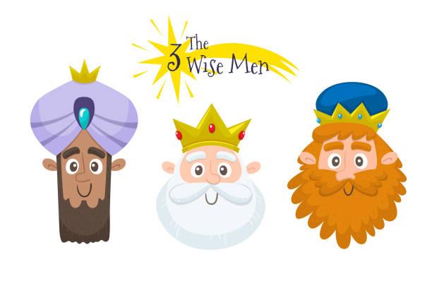 ilustrações de stock, clip art, desenhos animados e ícones de three wise men avatar set - reis magos