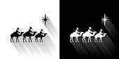 istock Three wise men Black and White Icon with Long Shadow 1188917387