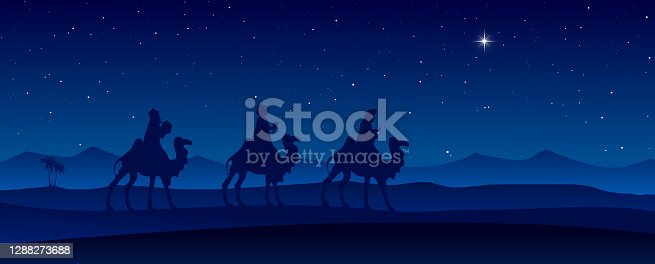 Vector illustration of Nativity Scene with dark blue figurine silhouettes of Three Wise Men in the desert setting, against a blue starry sky at night with moravian star.