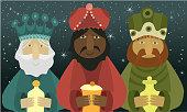 Three wise men bring presents to Jesus