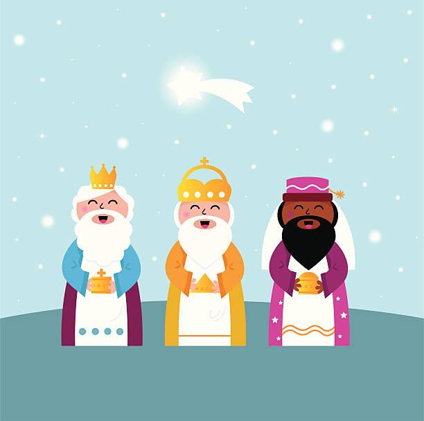 ilustrações de stock, clip art, desenhos animados e ícones de três reis magos trazendo presentes para cristo - reis magos