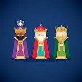 Three wise men bringing gifts to Jesus
