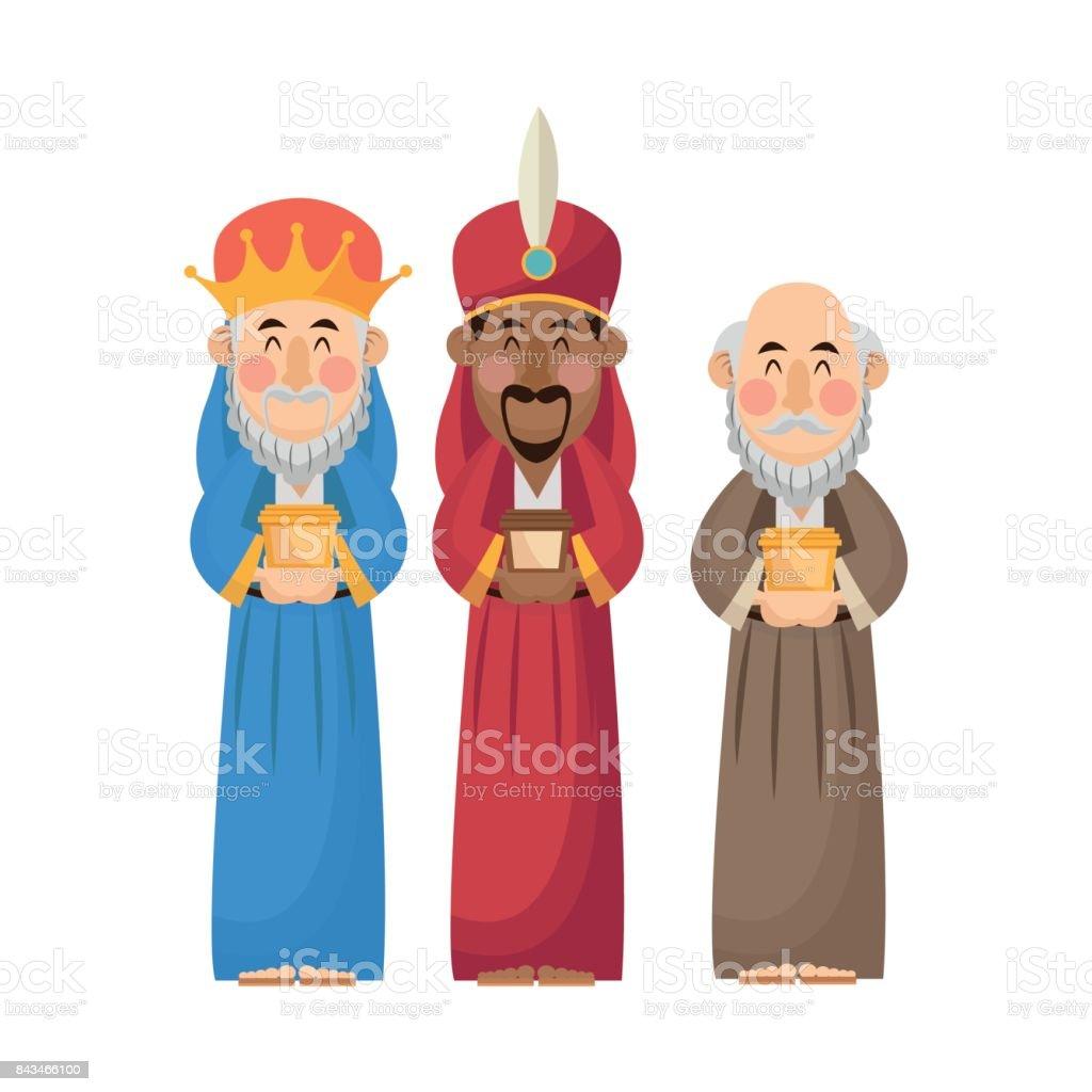 Ilustración De Reyes Magos Dibujos Animados Con Diseño De Regalo Y
