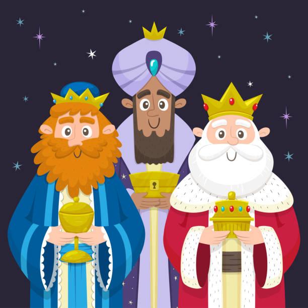 ilustrações de stock, clip art, desenhos animados e ícones de three wise men chrismas card - reis magos