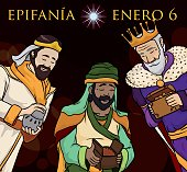 Three Wise Men Delivering Gifts in Epiphany's Night in Spanish