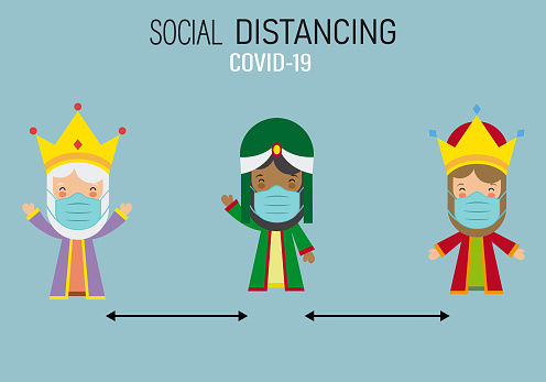 Three wise men from the east with a mask and social distance.