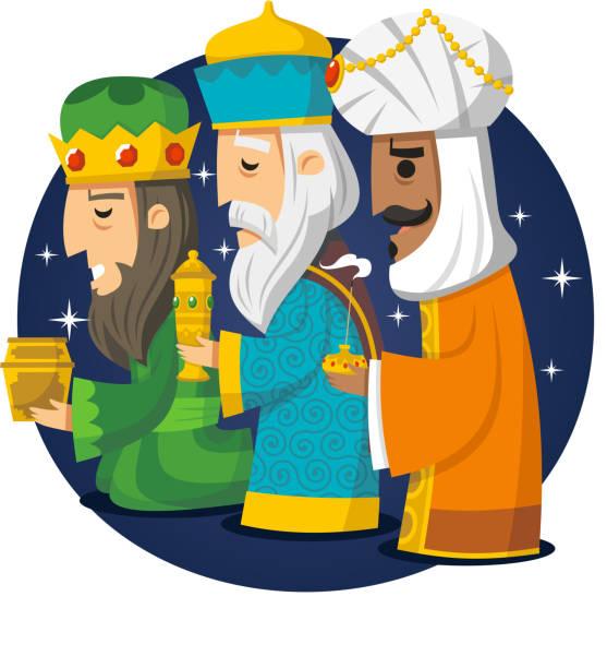 ilustrações de stock, clip art, desenhos animados e ícones de três homens sábios kings melchior gaspard balthazar - reis magos