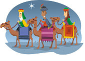 cartoon Three wise men searching for the mesiah.