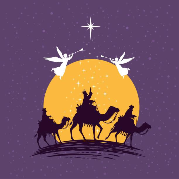 Three wise men - three kings. Nativity Christmas Scene. vector art illustration