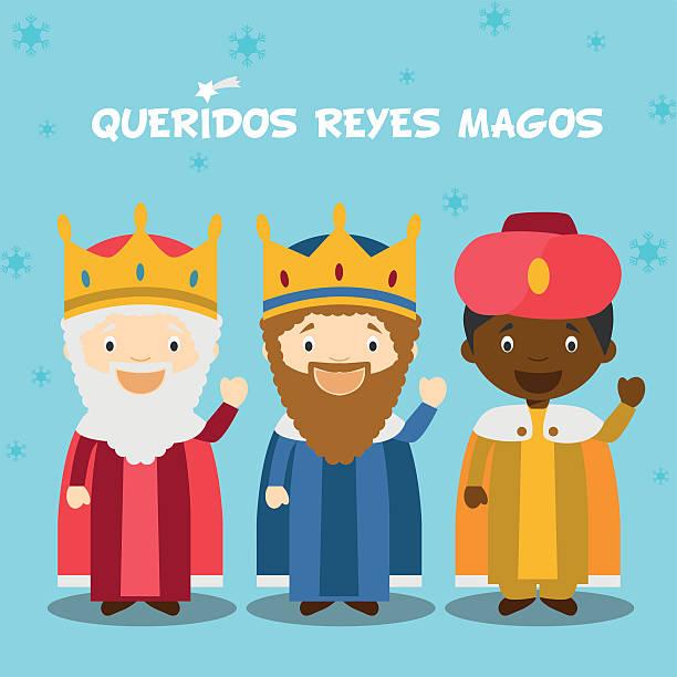 ilustrações de stock, clip art, desenhos animados e ícones de três homens sábios ilustração vetorial de natal tempo - reis magos