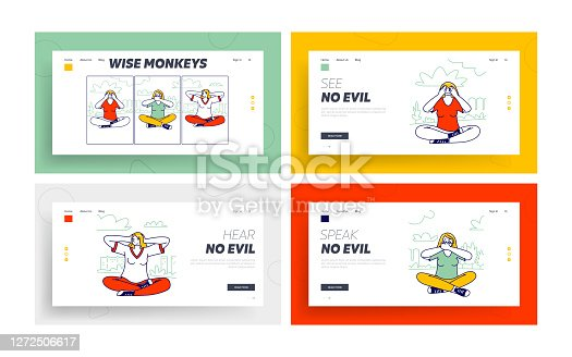 istock Three Wise Monkeys Landing Page Template Set. Women Characters Closing Eyes, Ears, Mouth Do Not See, Hear and Speak Evil 1272506617