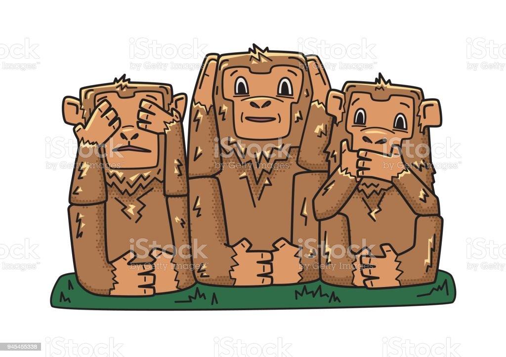 三猿神秘的な猿見ざる聞かざるベクトル文字イラストは白で隔離