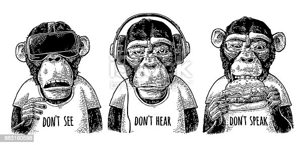 Three wise monkeys with headphones, virtual reality headset and burger. Don't see, don't hear, don't speak handwriting lettering. Vintage black engraving illustration isolated on white background