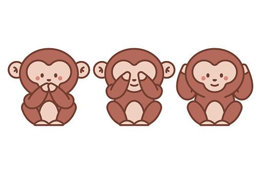 Three wise monkeys vector cartoon illustration isolated on a white background.