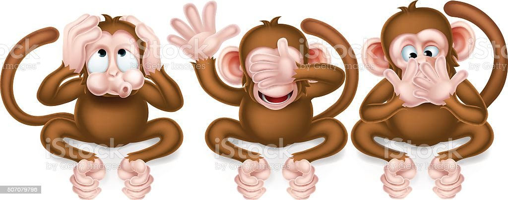 Drei weise Affen – Vektorgrafik