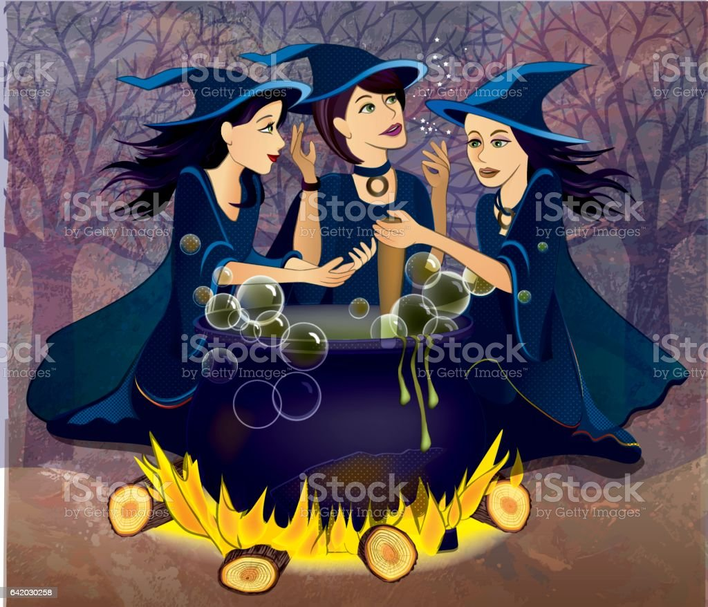 Three witches from Macbeth vector art illustration