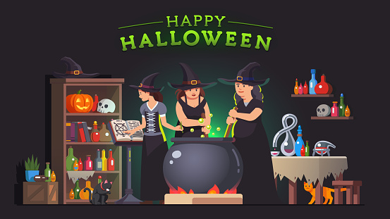 Three witches stirring poison brew potion in boiling cauldron on fire & reading spells from magic book. Alchemy lab room. Halloween holiday witchcraft. Flat style isolated vector on dark background