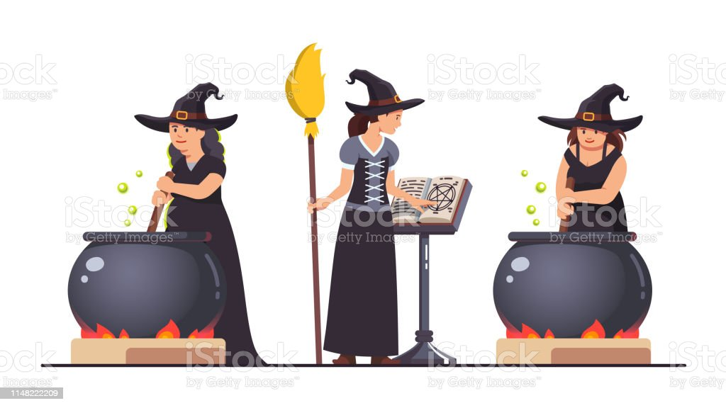 Three Witches Stirring Poison Brew Potion In Boiling