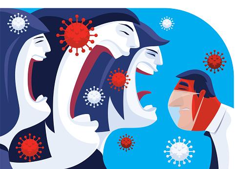 three woman blaming masked man
