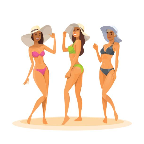 Three Woman In Bikini, Full Length Long Leg Sexy Girls Wear Hat Happy Smiling vector art illustration