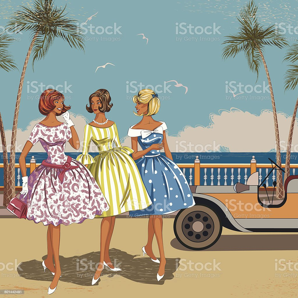 Three women at the sea vector art illustration