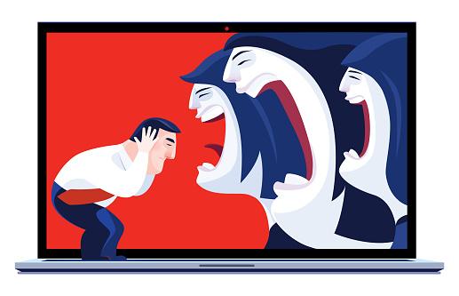 three women blaming businessman via laptop