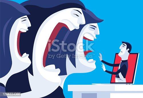 vector illustration of three women blaming man via internet