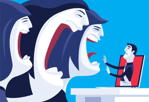 illustrazioni stock, clip art, cartoni animati e icone di tendenza di three women blaming man via internet - furioso