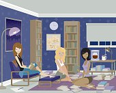 Three Women Having a Late Night Study Session