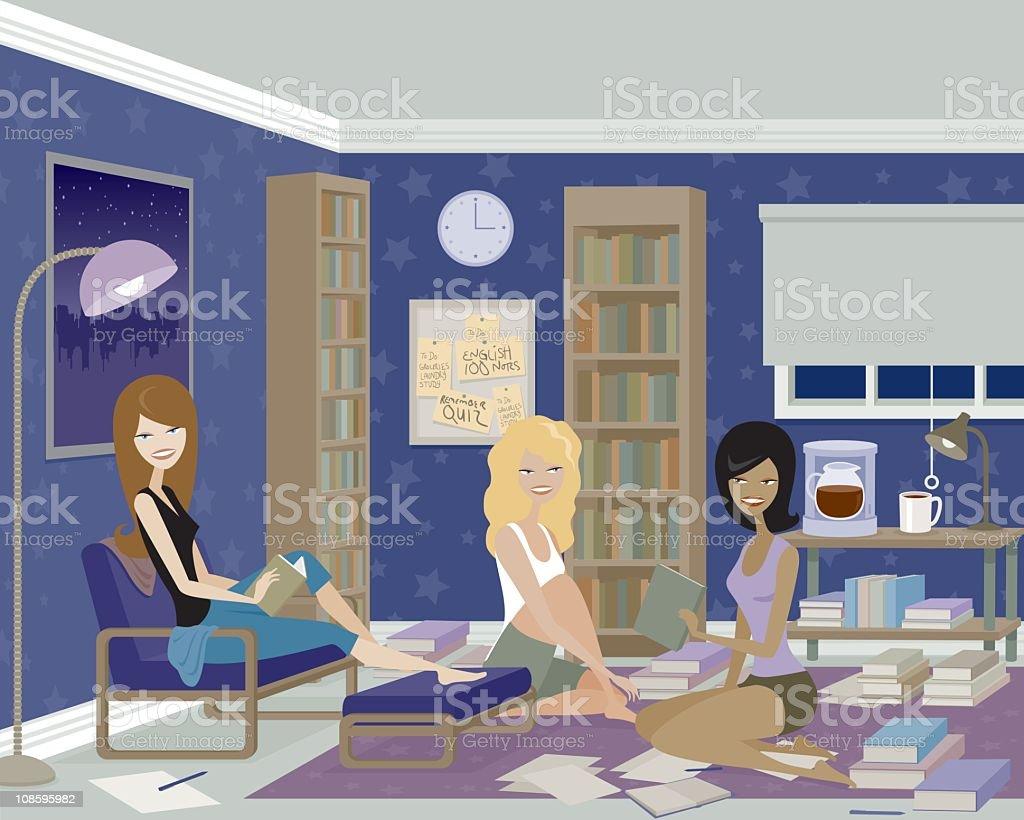 Three Women Having a Late Night Study Session vector art illustration