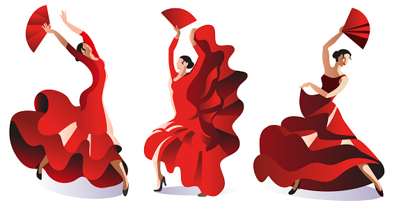 Three women in red dresses with fans dance flamenco.