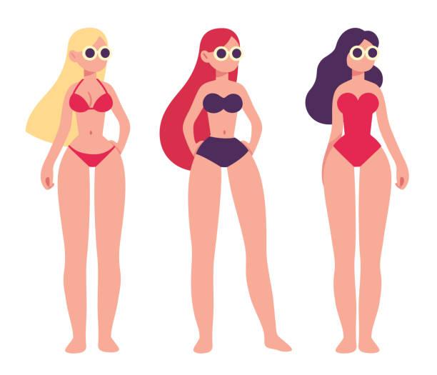 Drei Frauen in Badeanzüge – Vektorgrafik