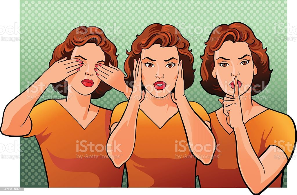 Three women representing see hear and speak no evil royalty-free stock vector art