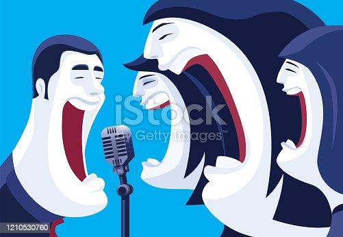 vector illustration of three women singing with man