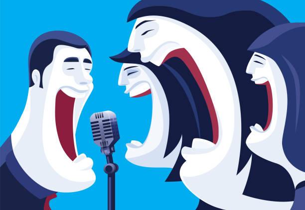 stockillustraties, clipart, cartoons en iconen met drie vrouwen die met mens zingen - tenor