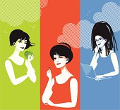 Three different woman doing three different things. Eps and hi-res jpg.