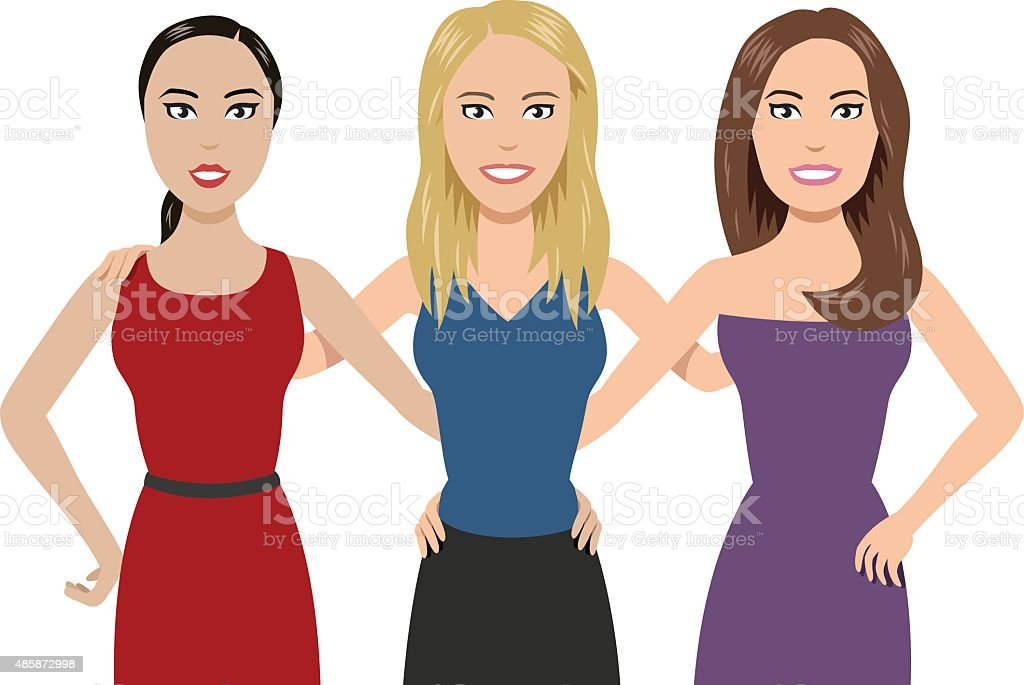 Three Women vector art illustration