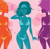 Group of women in bikini, colourful figures. Eps and hi-res jpg.