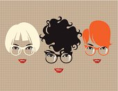 Three female faces with three different hairstyles and fashionable glasses on. Eps and hi-res jpg, layers.
