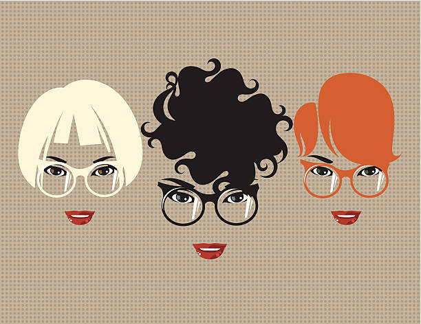 stockillustraties, clipart, cartoons en iconen met three women with glasses. - blond curly hair