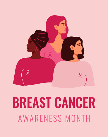 Three women with pink ribbons of different nationalities standing together. Breast cancer awareness prevention month