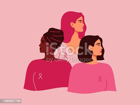 Three women with pink ribbons of different nationalities standing together. Breast cancer awareness prevention month. Concept of support and solidarity with females fighting oncological disease