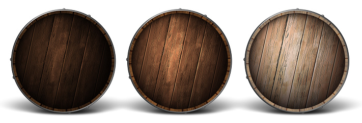 Three wooden covers for barrels of different wood. Highly realistic illustration.