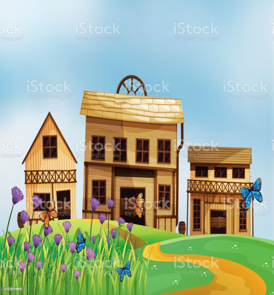Three wooden houses royalty-free stock vector art